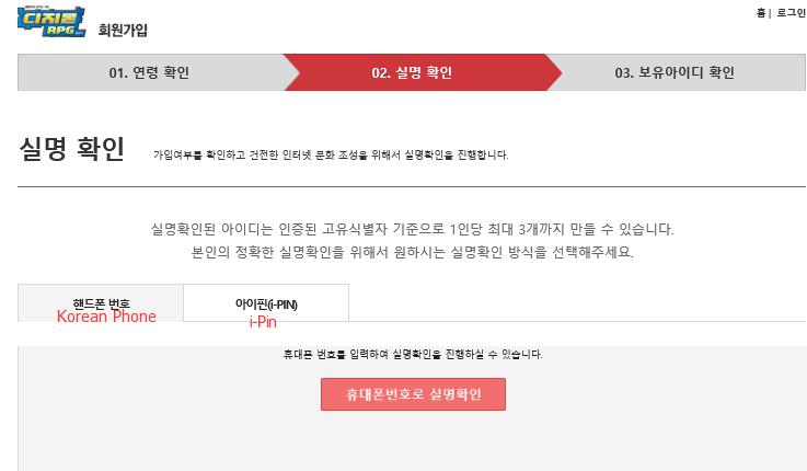 verify i-Pin or KSSN to create KDRO account